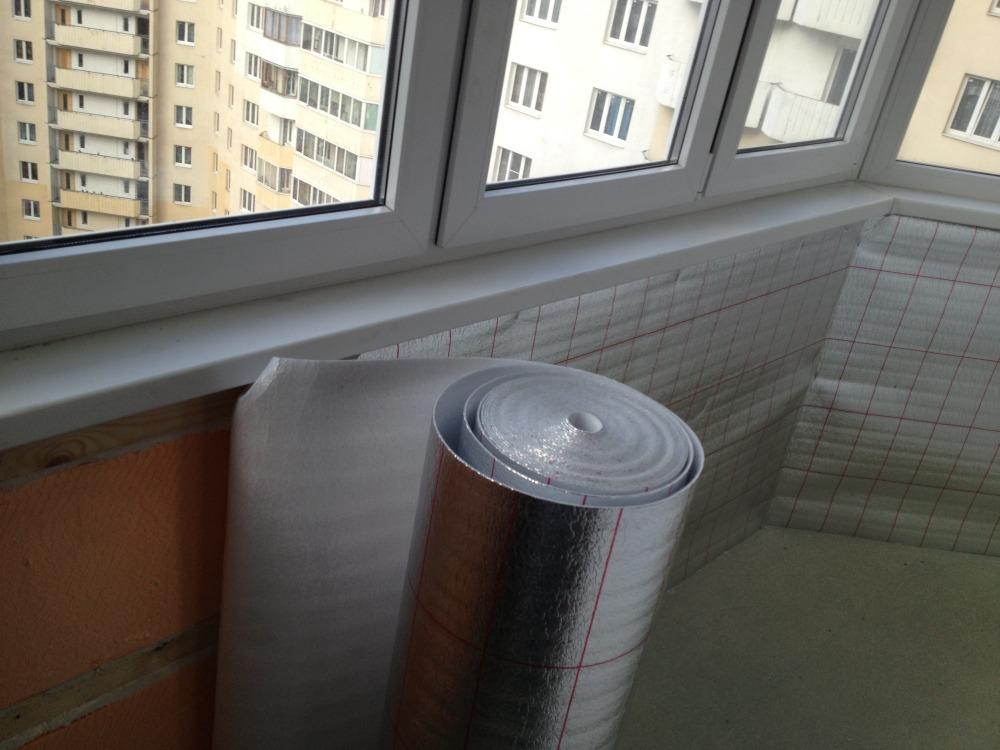 Пароизоляция с алюминиевой фольгой на балкон.